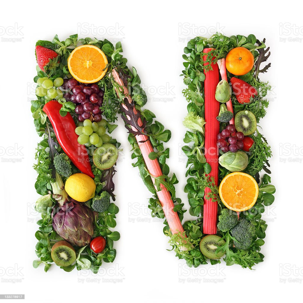 The letter N depicted in fruits and vegetables royalty-free stock photo