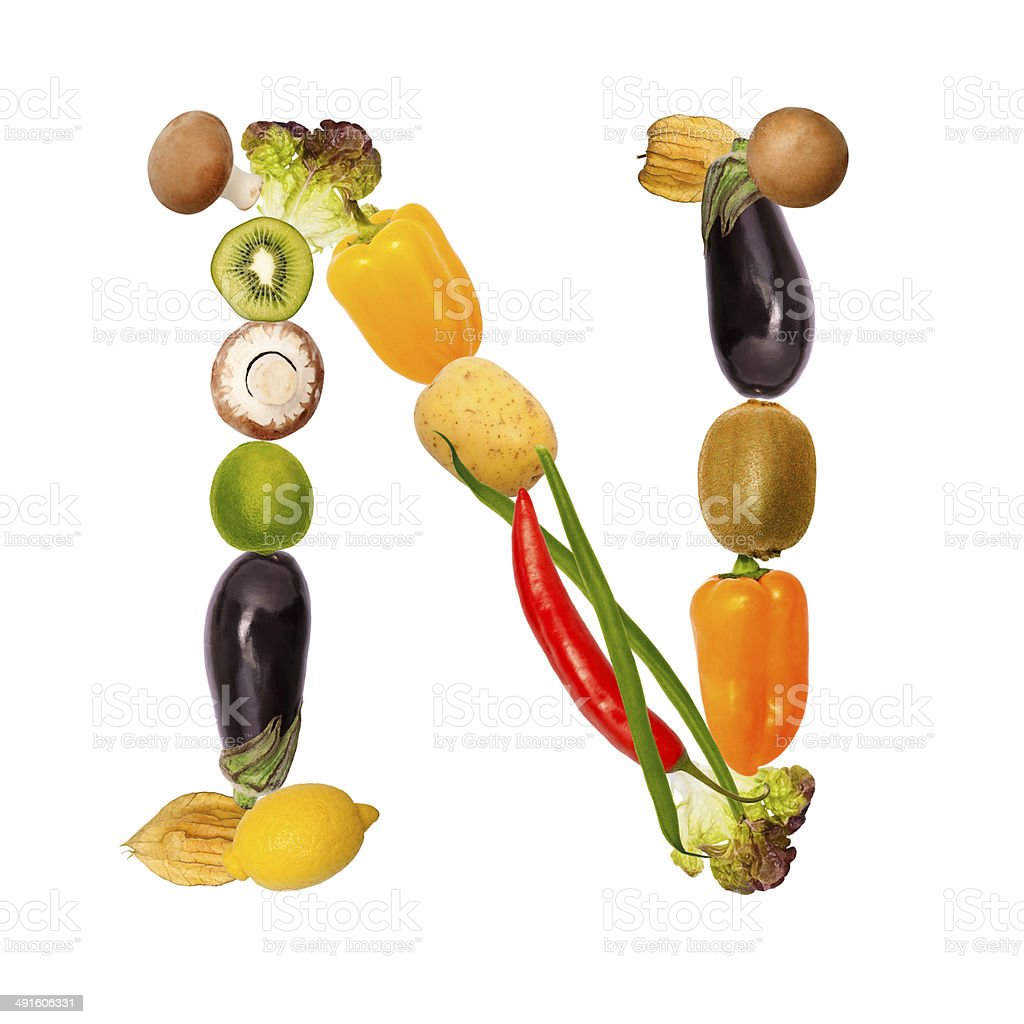 the letter n in various fruits and vegetables stock photo