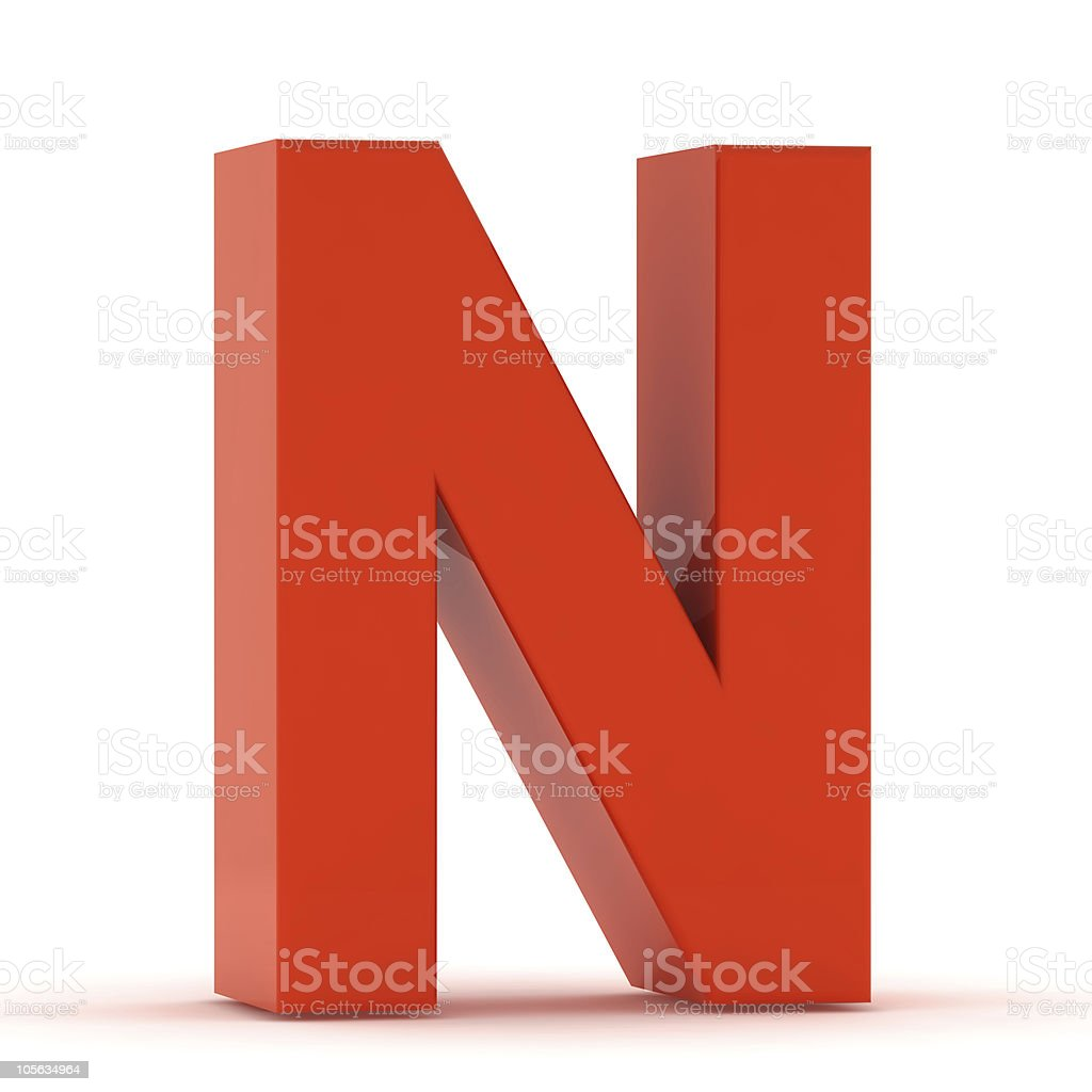 The Letter N - Red Plastic stock photo