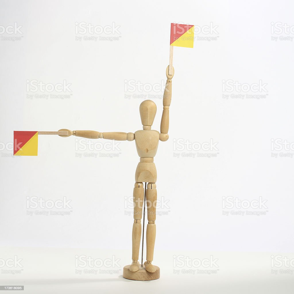 The letter 'P' in semaphore stock photo