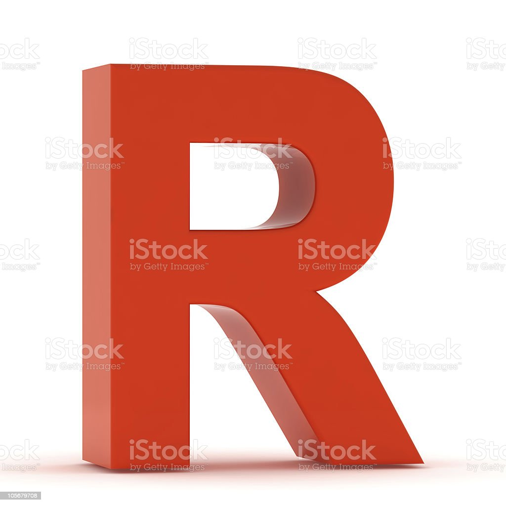 The Letter R - Red Plastic stock photo