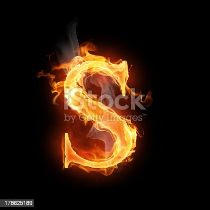istock The letter S in orange flames  178625189
