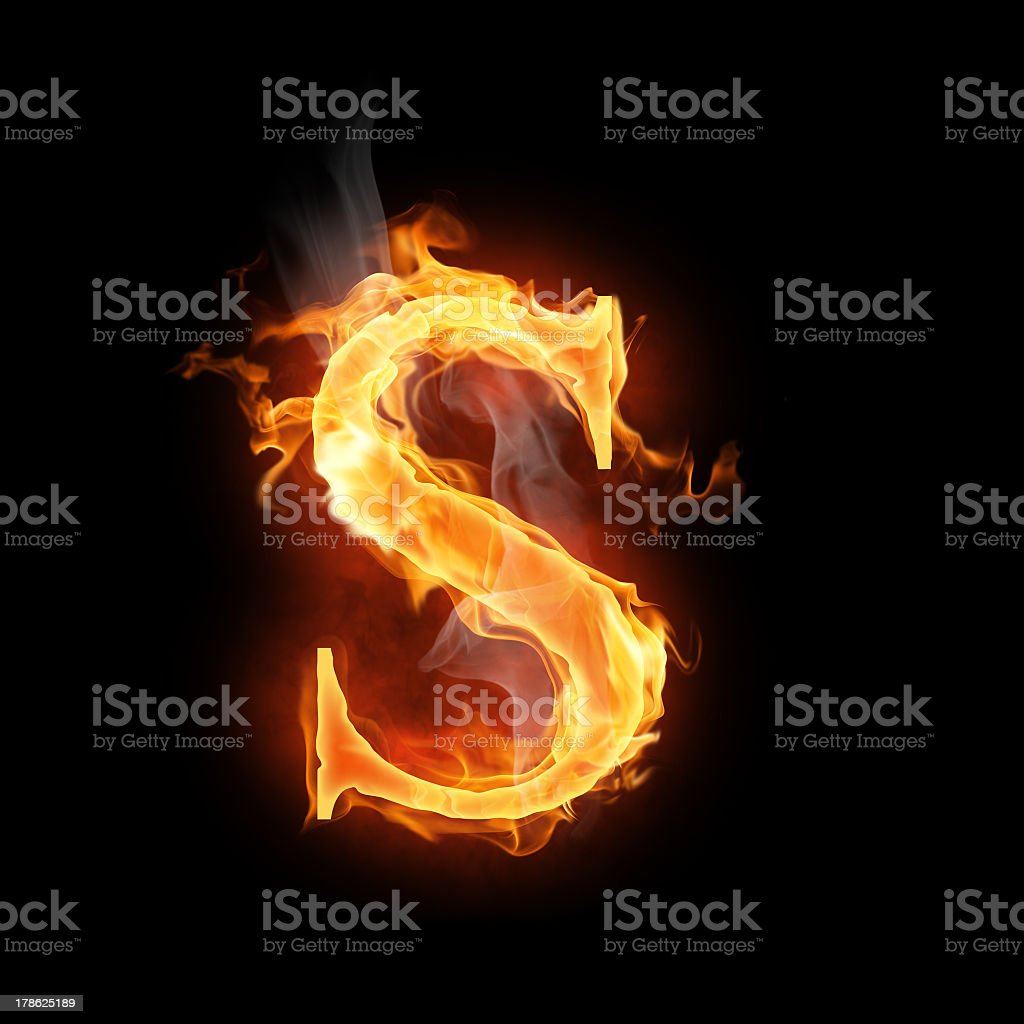 The letter S in orange flames  stock photo