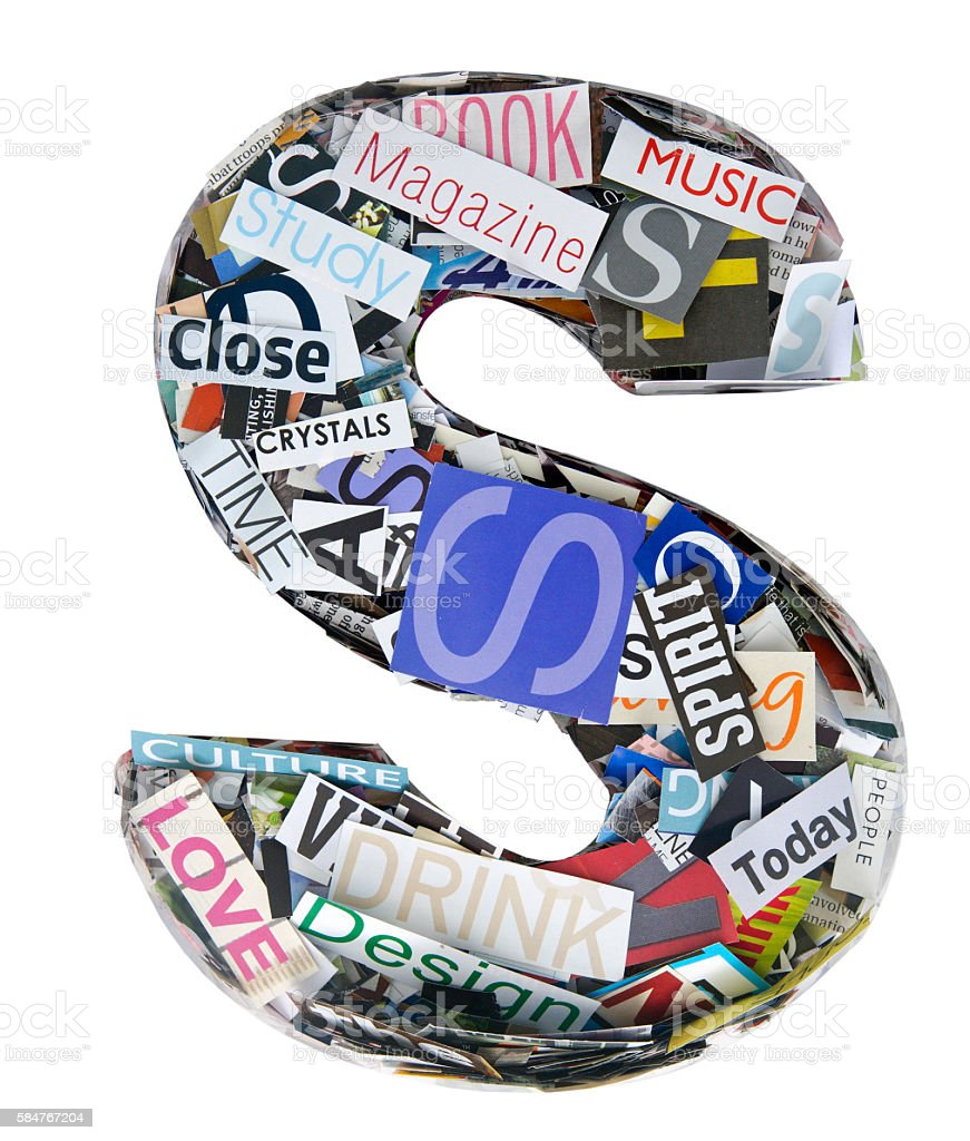 The letter s made random cut out words stock photo more pictures the letter s made random cut out words royalty free stock photo publicscrutiny Choice Image