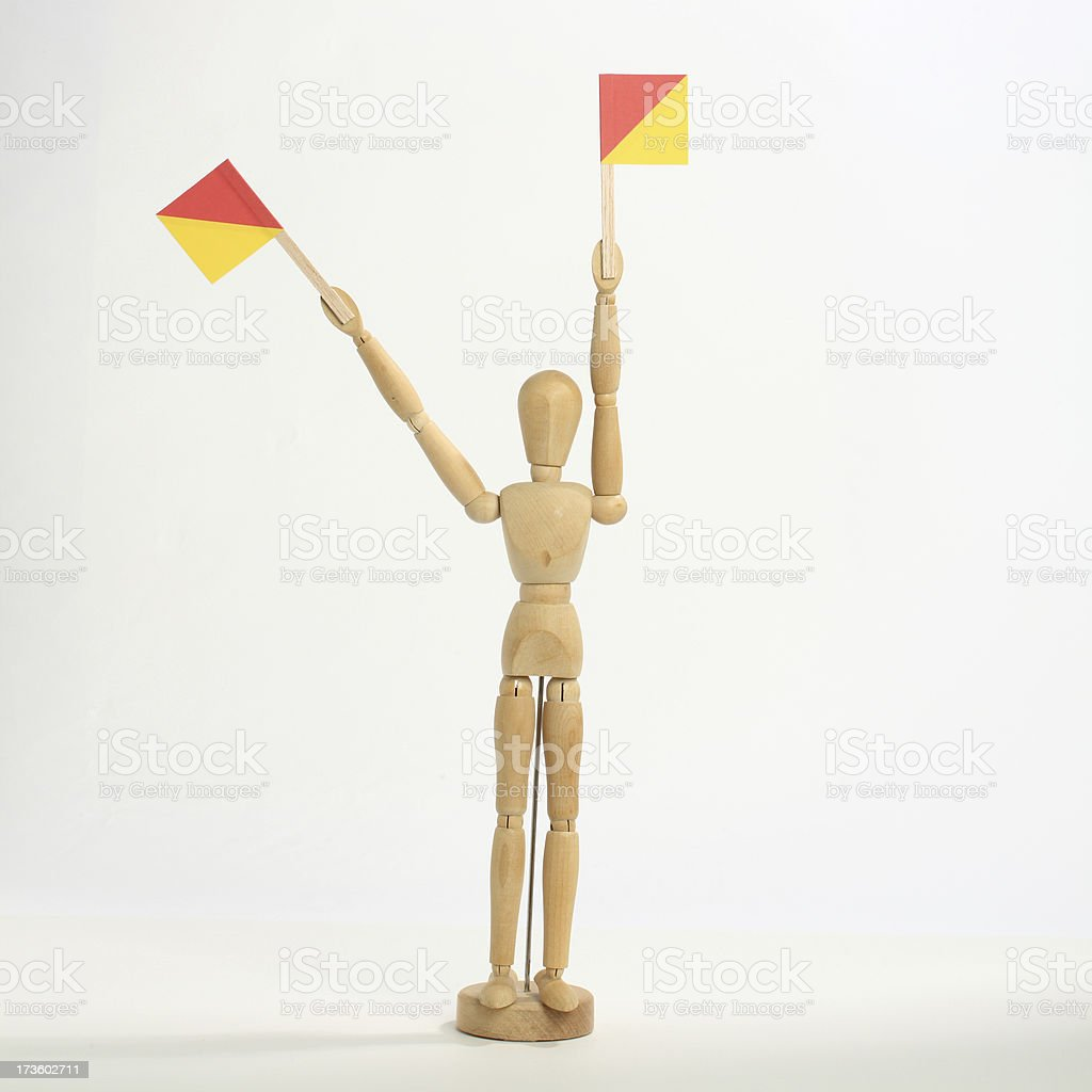 The letter 'T' in semaphore stock photo