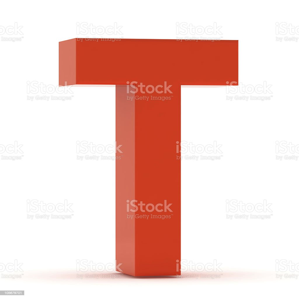 The Letter T - Red Plastic stock photo