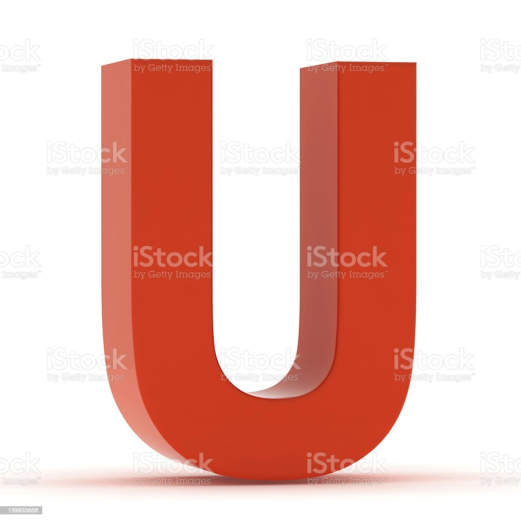 The Letter U - Red Plastic stock photo