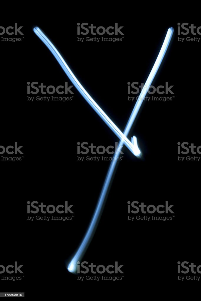 The letter Y from neon light. royalty-free stock photo