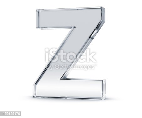3D rendering of letter Z made of transparent glass with Shades and Shadow isolated on white background.