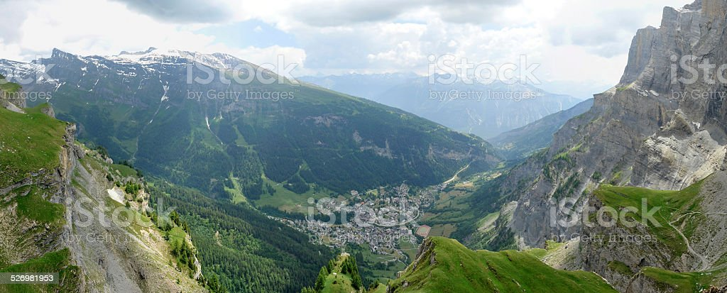 The Leukerbad valley - Canton of Valais stock photo