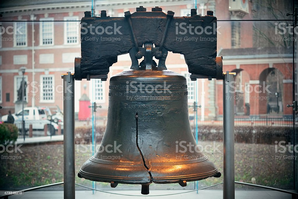 The Liberty Bell in Philadelphia Liberty Bell and Independence Hall in Philadelphia 2015 Stock Photo