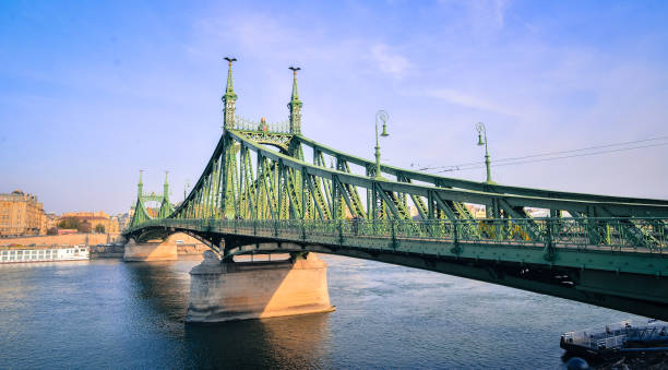 The Liberty Bridge in Budapest by day / Szabadság híd Budapest, Hungary, Europe liberty bridge budapest stock pictures, royalty-free photos & images