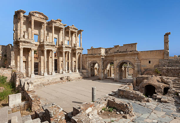 The Library of Celus, Ephesus, Turkey The Library of Celsus, built in A.D. 135, in the ancient city of Ephesus. celsus library stock pictures, royalty-free photos & images