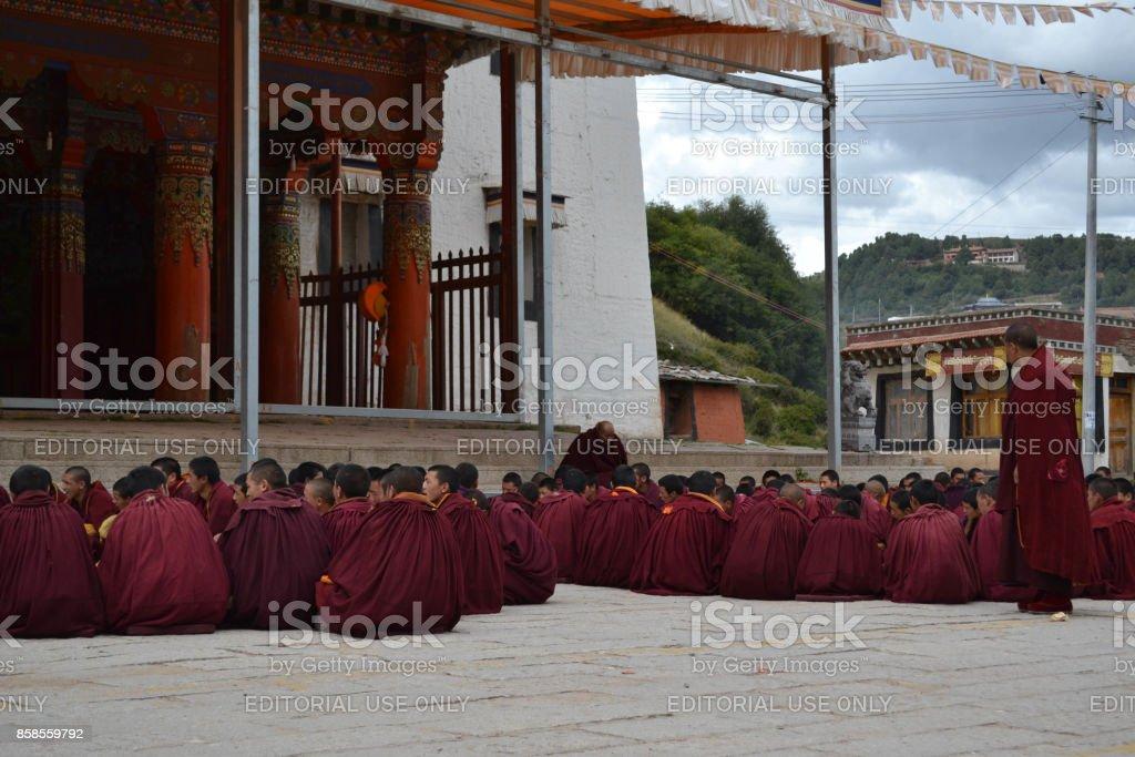 The life around Kirti Gompa Monastery in Langmusi, Amdo Tibet stock photo