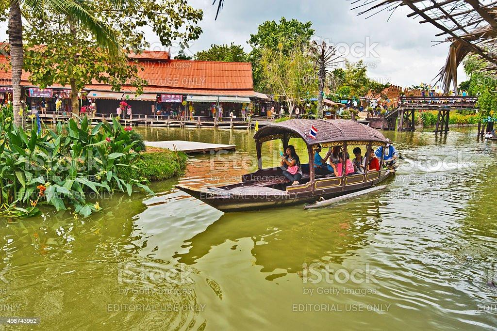 The life in Ayutthaya floating market stock photo