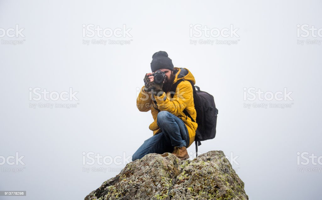 the life of the male man on the mountain stock photo