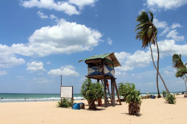 The lifeguard shack of Nilaveli beach in Trincomalee. stock photo
