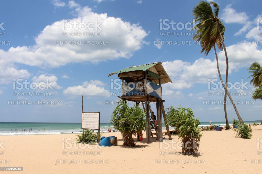 The lifeguard shack of Nilaveli beach in Trincomalee. stock photo
