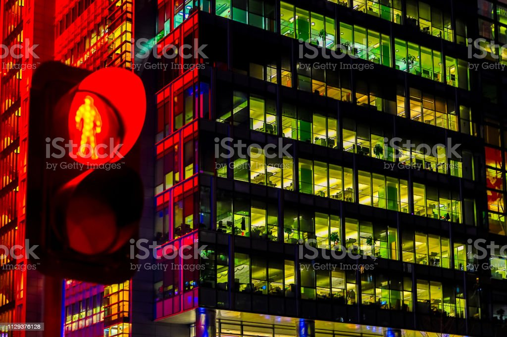 The nightlife of the city is brightly lit, and the lighting of office...