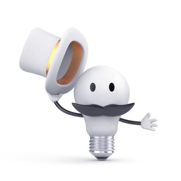 dire l'ampoule dans le chapeau et une moustache - bonjour. personnage 3d. illustration 3d - mascotte photos et images de collection