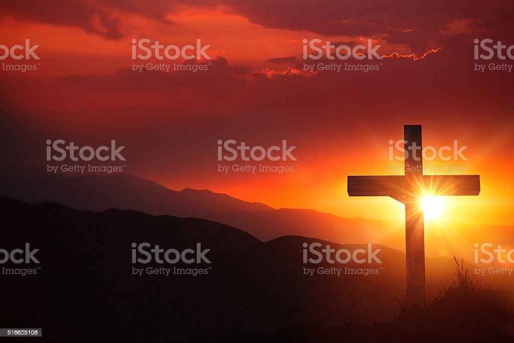 The Light of Christ Old Wooden Crucifix on the Desert During Scenic...