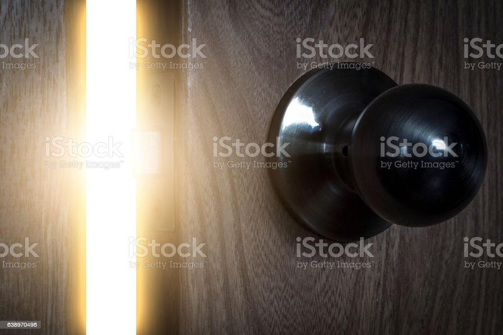 The light through the open door stock photo
