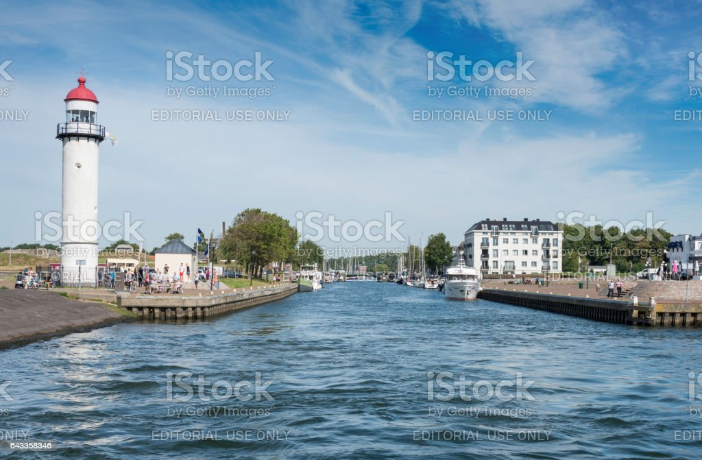 the lighthouse and harbor from Hellevoetsluis stock photo