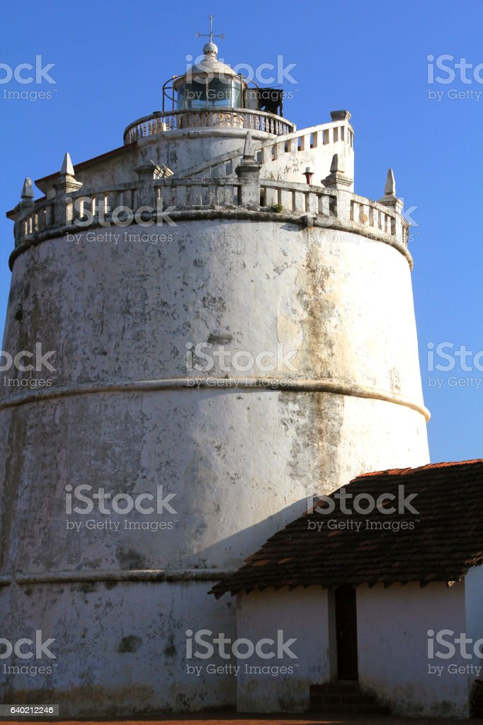 The lighthouse at Fort Aguada, Goa, India stock photo