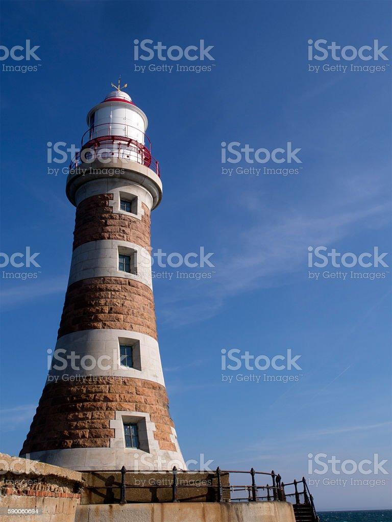 The Lighthouse at the end of Roker Pier, Sunderland stock photo