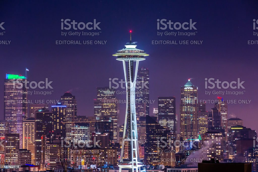 The lights of downtown Seattle at night stock photo
