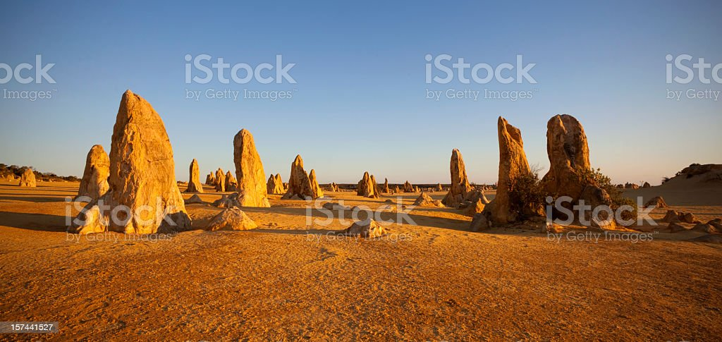 The limestone formations in The Pinnacles in Australia stock photo