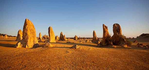 the limestone formations in the pinnacles in australia - bergspits stockfoto's en -beelden