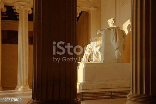 The statue of Abraham Lincoln inside the Lincoln Memorial of Washington DC, USA.