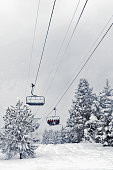 The line of the alpine skiing elevator among fir-trees in snow. Cloudy day, heavy snowfall