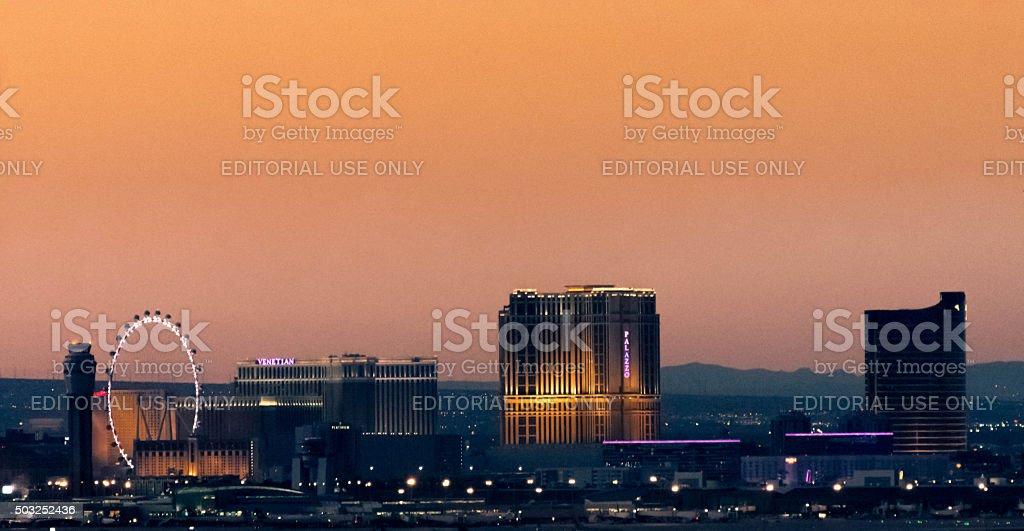 The Linq, Venetian, Palazzo and Wynn Casinos stock photo
