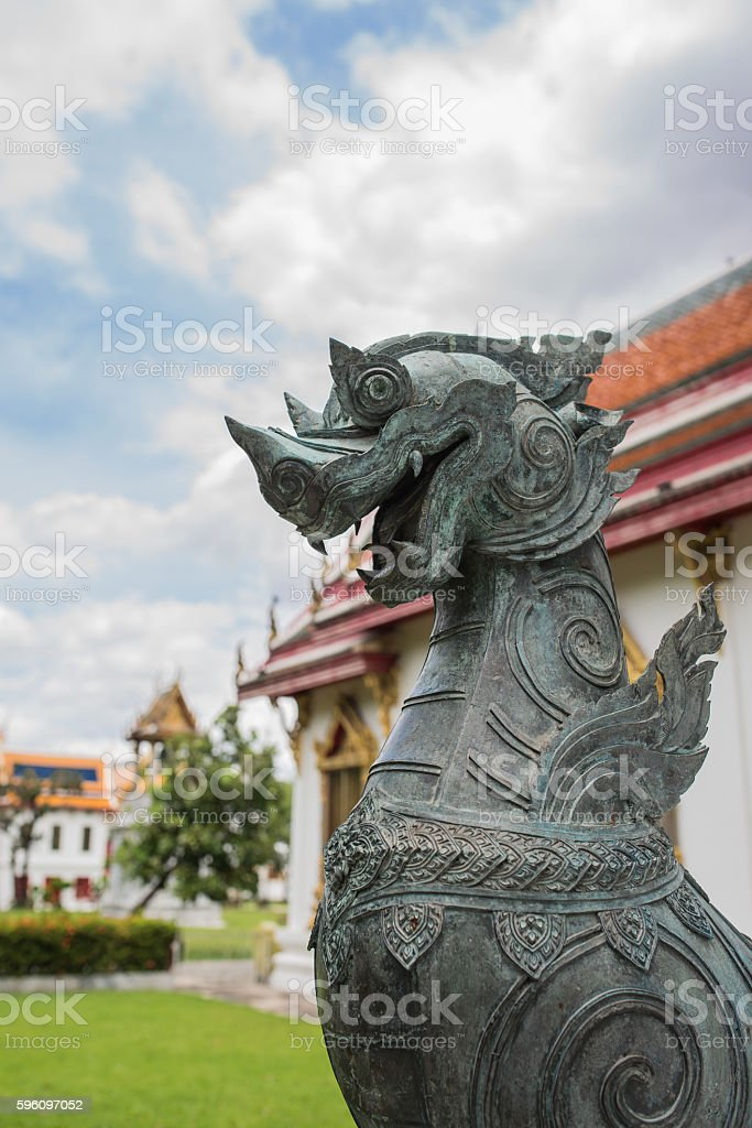 The lion at Benjamabopit temple royalty-free stock photo