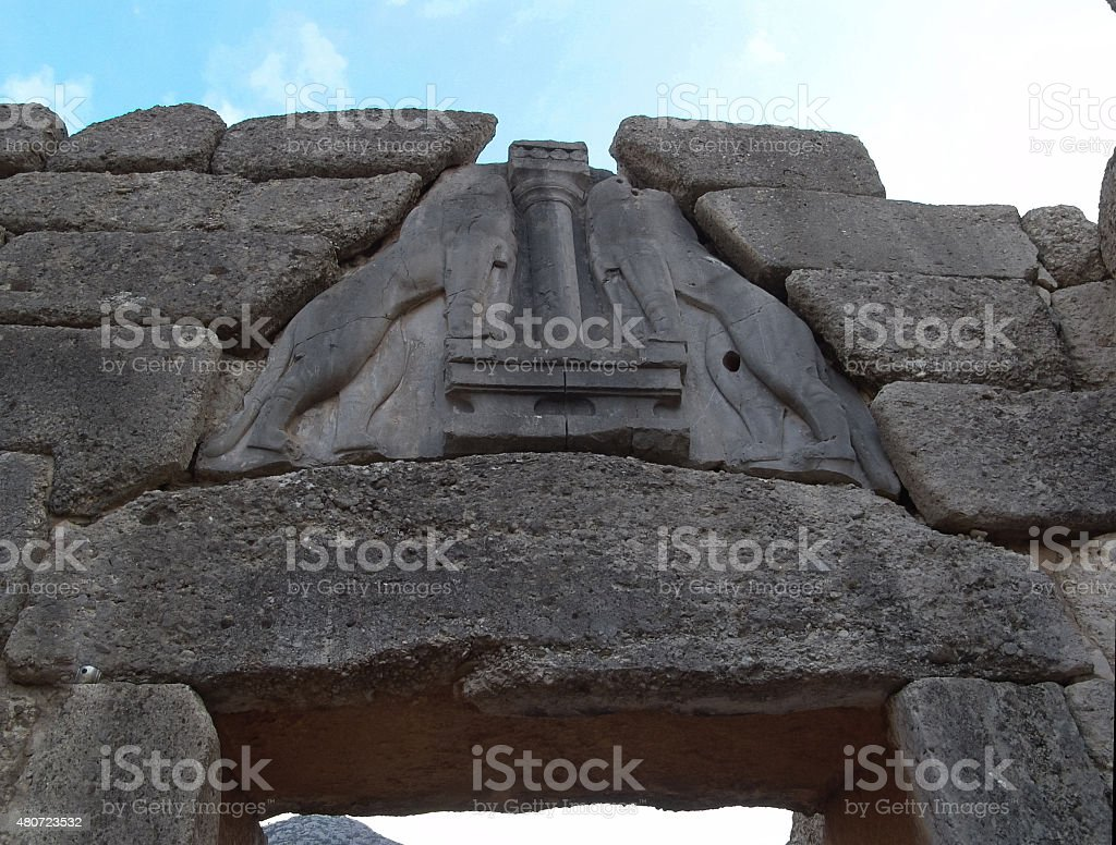 The Lion Gate at Mycenae stock photo