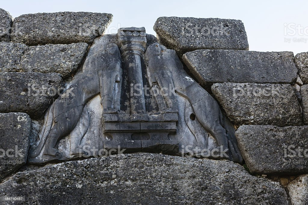 The Lion gate in Mykines, Greece stock photo