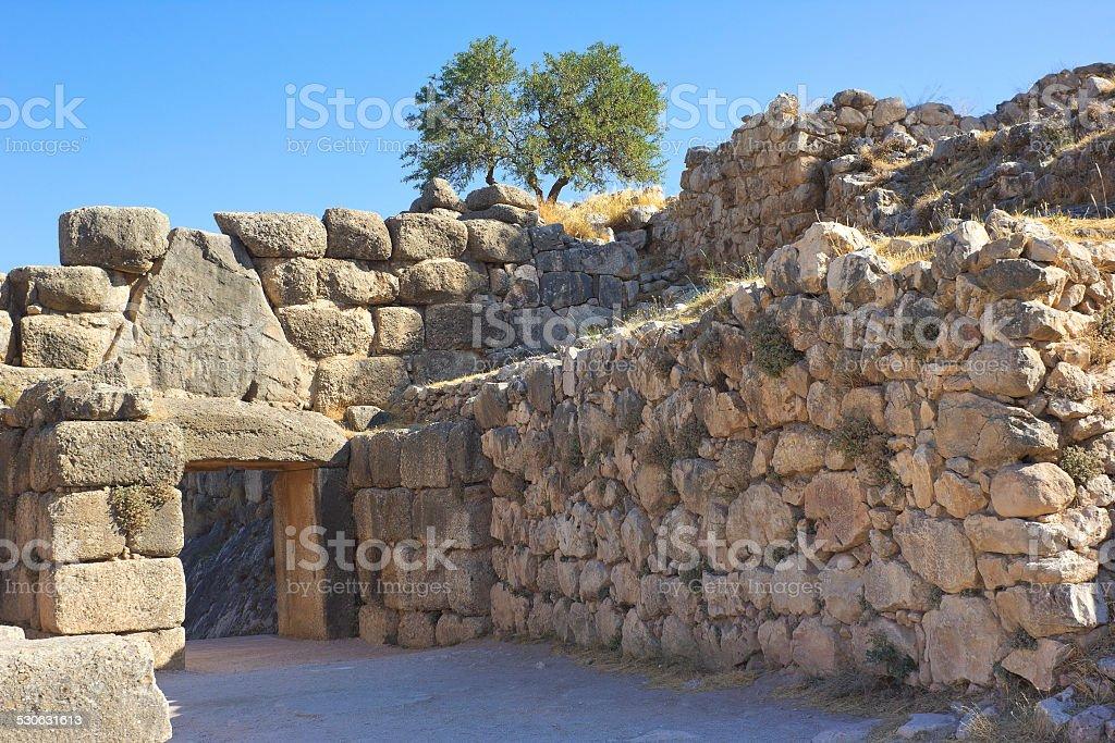 The Lion Gate, Peloponnesus, Greece stock photo