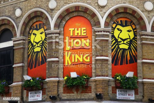 London, United Kingdom - April 22, 2012: The Lion King musical based on the 1994 Disney film. It was first produced in the UK in 1999