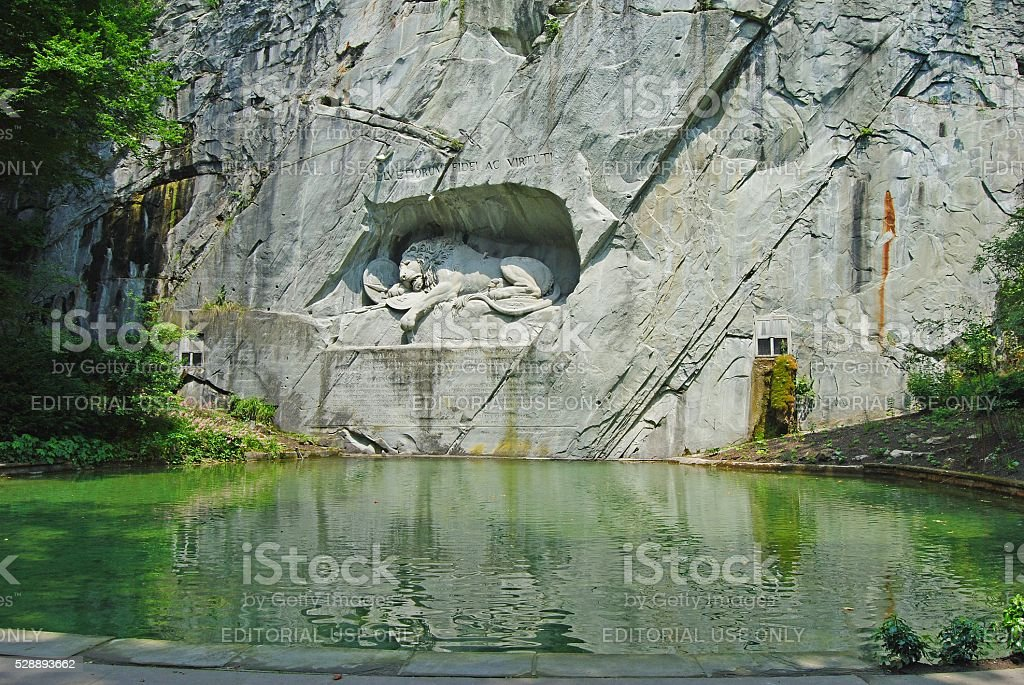 The Lion monument in Lucerne. stock photo
