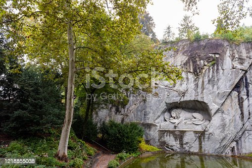 The Lion of Lucerne rock relief in Lucerne, Switzerland, is also known as The Lion Monument. It was designed by Bertel Thorvaldsen and carved by Lukas Ahorn in 1820–21 to commemorate the Swiss Guards killed during the French Revolution in 1792.