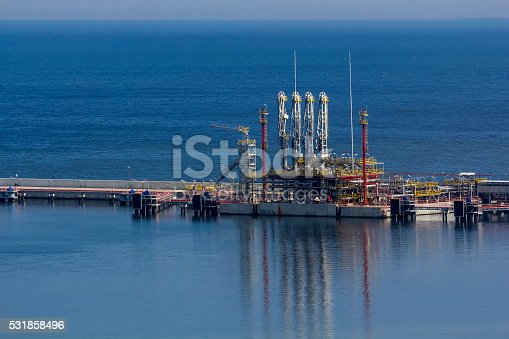 The liquid natural gas (LNG) offshore terminal. The gas will be sent to the customer by a pipeline from the terminal to the coast, Swinoujscie, Poland
