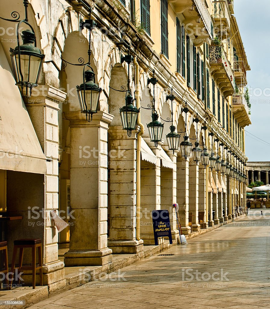 The Liston, Kerkyra, Greece stock photo