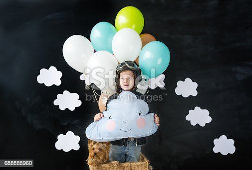 istock The little boy and pet dog sitting in a basket of balloon 688888960