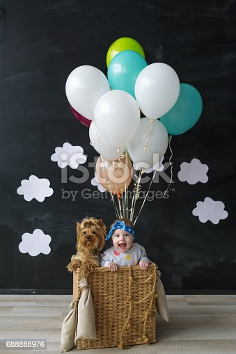 istock The little girl and pet dog sitting in a basket of balloon 688888976