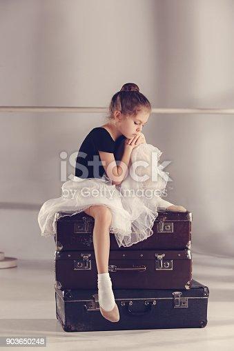 istock The little girl as balerina dancer sitting at studio 903650248