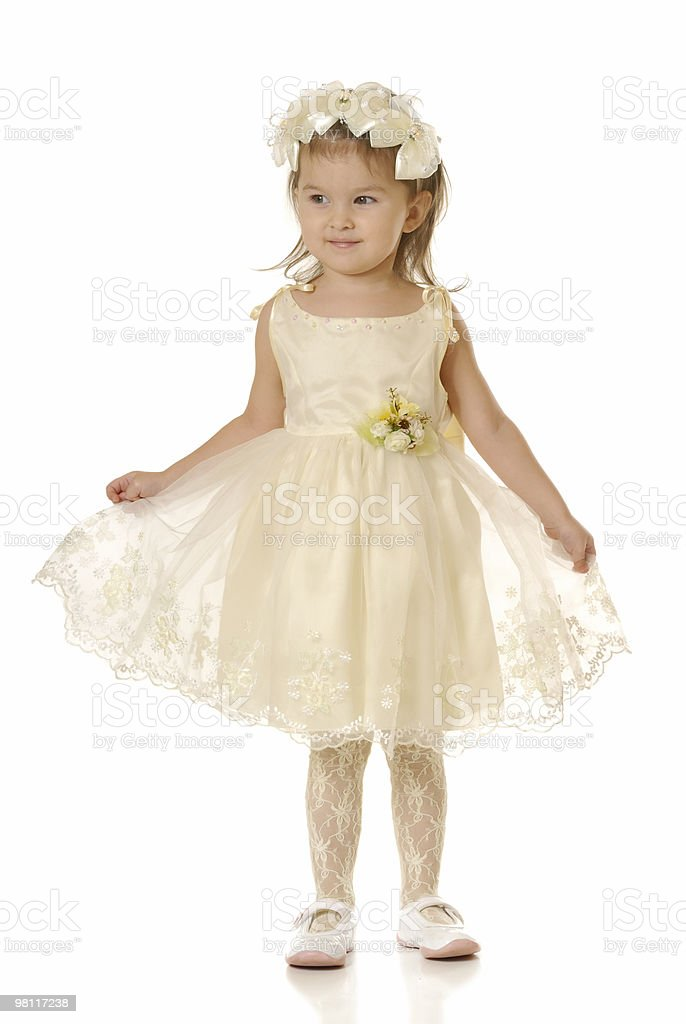 The little girl in a dress of bride royalty-free stock photo