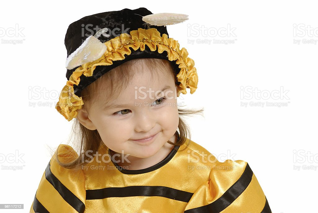 The little girl in dress of a bee royalty-free stock photo