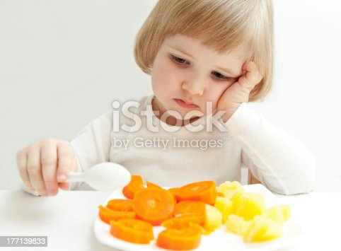 istock The little girl looking at vegetables 177139833